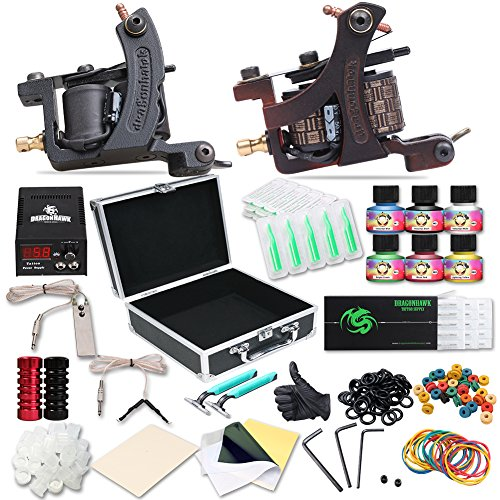 Price comparison product image Dragonhawk Complete Tattoo Kit Copper Coils 2 Tattoo Machines Immortal Tattoo Inks Power Supply Tattoo Needles Tips Grips Carry Case with Key Tattoo Supplies for Tattoo Artists 2-2YMX
