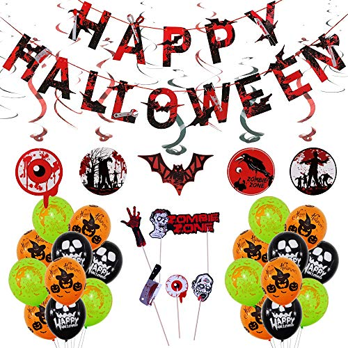 Happy Halloween Balloons Decorations Kit for kids - Happy Halloween Banner,Halloween Creepy Creatures Hanging Swirl Ceiling Decorations,12 Inch Pumpkin, Skull and Bloody Hand Latex Balloons ()