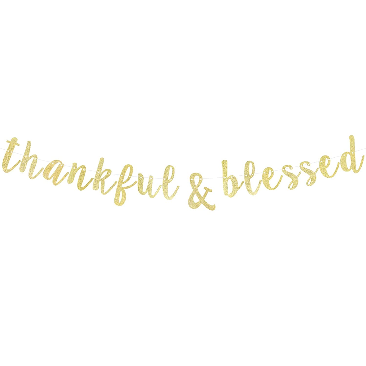 Thankful Blessed Gold Glitter Cursive Script Bunting Banner Happy Thanksgiving Day Autumn Fall Yall Party Decoration Fireplace Table Wall Sign No Diy Required Amazon In Toys Games