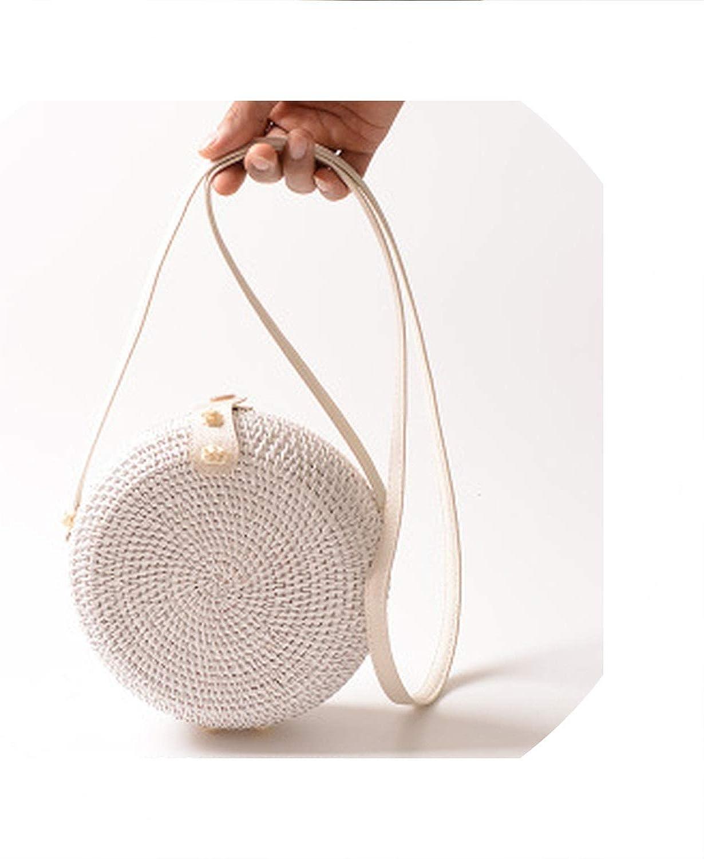 White Round Rattan Bags For Women Designer Handbags Vintage Handmade Woven Straw Bag Beach Women Bags