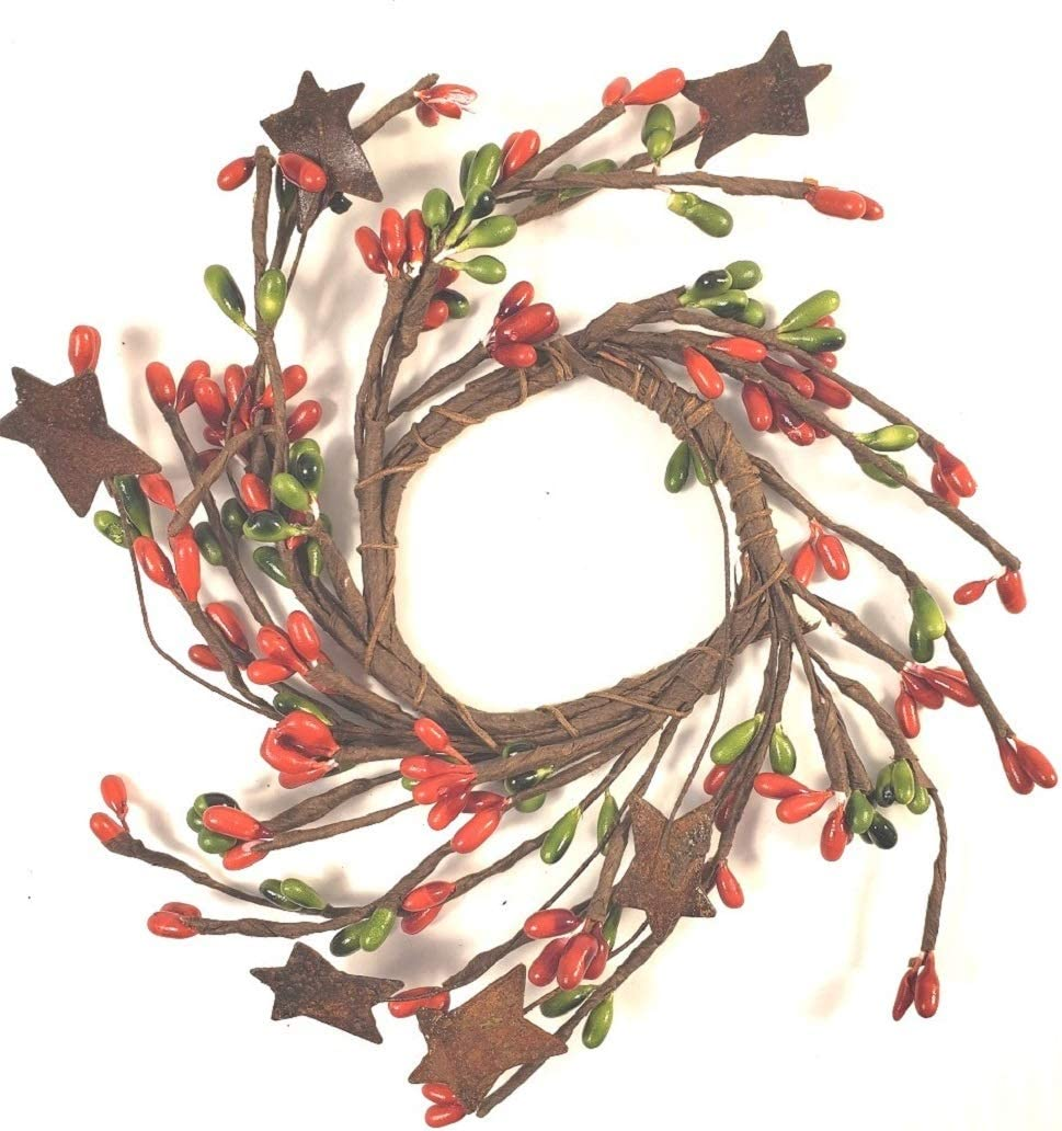 Red & Green Pip Berry Ring Rusty Stars Mini Wreath Country Primitive Christmas Holiday Floral Décor