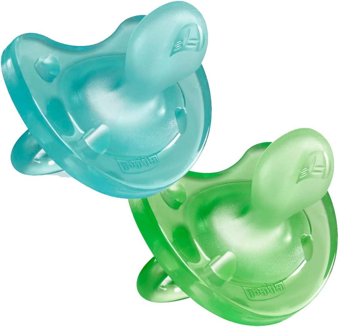 Chicco Physio Soft - Pack de 2 chupetes todo goma de silicona, Azul y Verde, 16-36 m