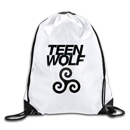 Amazon.com  CACA Teen Wolf Logo Drawstring Backpack Sack Bag  Sports ... 2bf05f696c7a