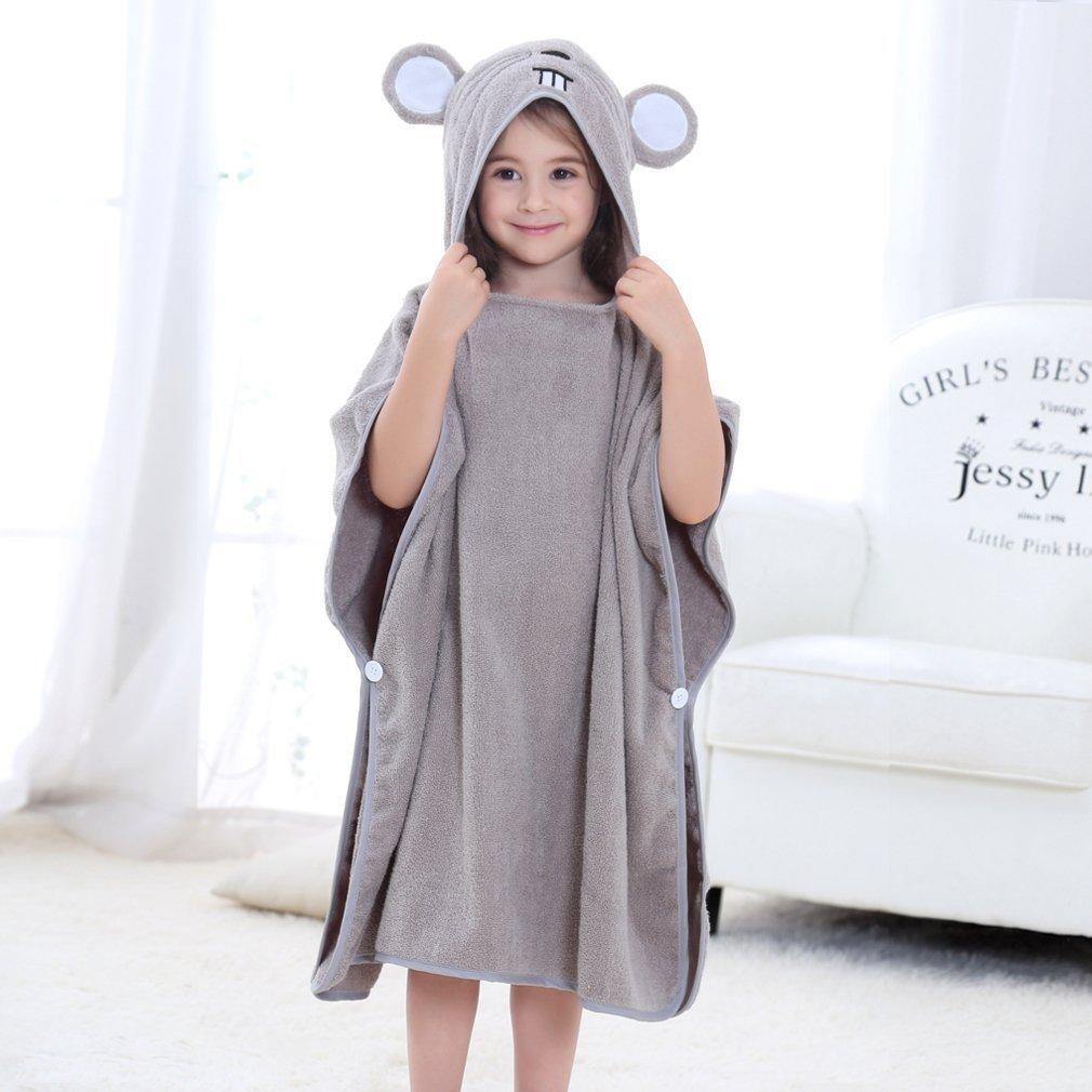 ecc2cef3d Amazon.com : MICHLEY Hooded Baby Unisex Beach Bath Poncho Towel, Soft Cotton  Animal Kids Bathrobe for 2-6 Years, 27.5