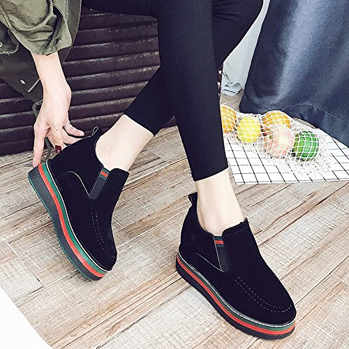 Bottes de de Noir Hiver Plus Gâteau Importante Chelsea Bottes Automne de Plus Et Augmentation en de DXD Tempérament Daim Chaussures Féminines Des en Velours Chaud Sauvages qtB7nqR