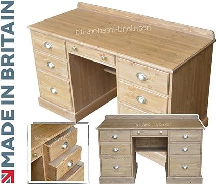Madera de pino maciza escritorio, doble Pedestal artesanal y ...