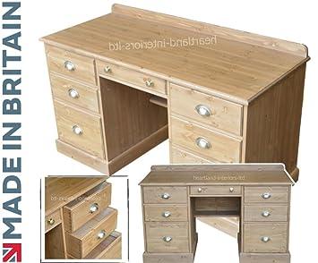 Madera de pino maciza escritorio, doble Pedestal artesanal y encerado Compact escritorio, mesa con