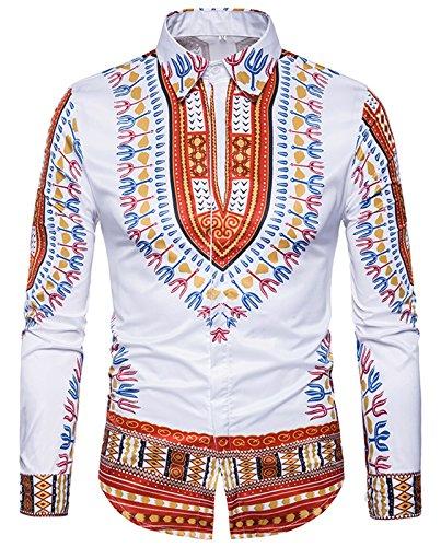 (WHATLEES Mens Luxury Casual Slim Fit Stylish Dress Shirts Long Sleeve African Dashiki Floral Pattern Print B699-Burgundy-S)