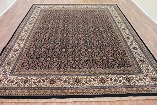 Bidjar Persian Oriental Area Rug (NYC Rugs New, Black, 8' x 9'10 Indo Bidjar Rug - Hand-Knotted Wool)