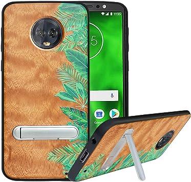 HHDY Funda de Madera para Motorola Moto G6 Plus, Carcasa Kickstand ...