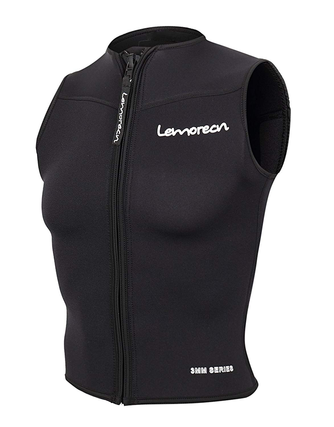 Lemorecn Mens Wetsuits Top Premium Neoprene 3mm Zipper Diving Vest (2095black-L) by Lemorecn