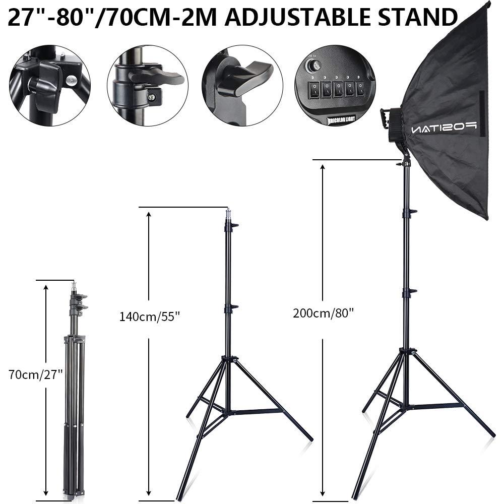 FOSITAN 3X 20'' x 28''Softbox Photography Lighting Kit, Boom Arm Headlight Lighting Kit with Sandbag, 2500W Continuous Lighting Kit with 2M Light Stand, Studio Lighting Kit with 11pcs Bulbs by FOSITAN (Image #5)