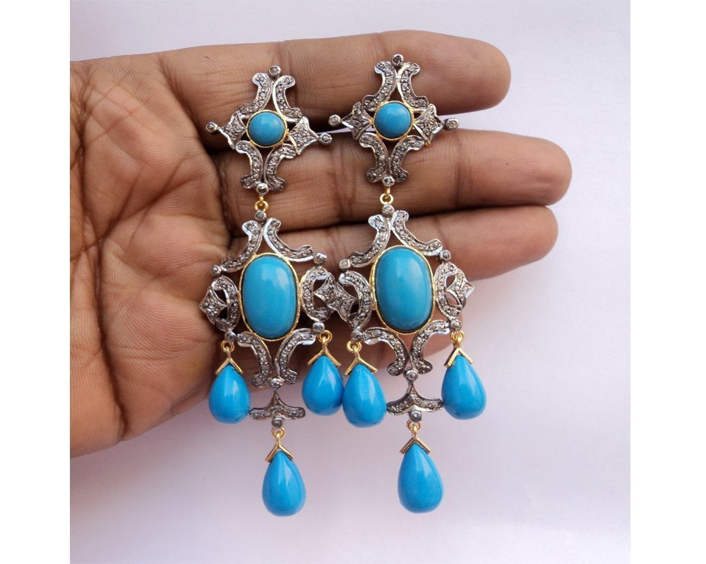 Amazon Com Chandeliers Turquoise Diamond Earrings Pave Rose Cut