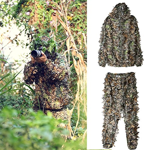 Ghillie Sniper Costume (Ghillie Suit, OUTAD Outdoor 3D Leafy Leaves Camo Camouflage Clothing for Hunting, Shooting, Airsoft, Wildlife Photography in Jungle Woodland and Forest, Free Size)