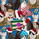 Elizabeth Studios HOLIDAY FRIENDS Blue 4203 Kitty Cat Quilting Cotton Sewing Fabric By the Yard by Elizabeth Studios