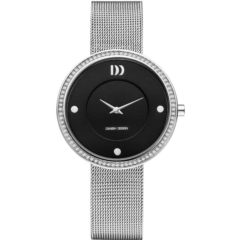 デンマークデザインiv63q1025ステンレススチールBlack Dial Crystal Bezel Women 's Watch B00CMNAJI6
