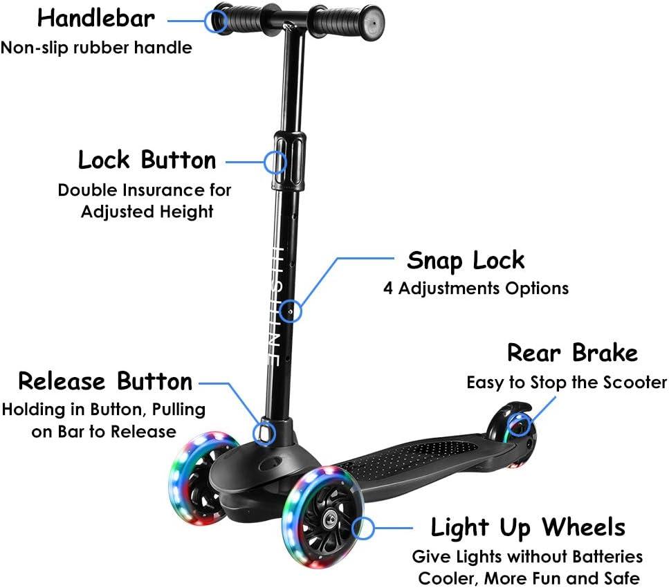 iride mini junior toddler scooter 2-5 years spin /& flashing wheels red blue pink