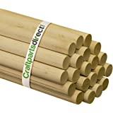 "Wooden Dowel Rods - 1"" x 36"" Unfinished Hardwood Sticks - For Crafts and DIY'ers - Craftparts Direct - Bag of 100"