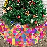 AHOOCUSTOM Merry Christmas Colorful Tree Skirt