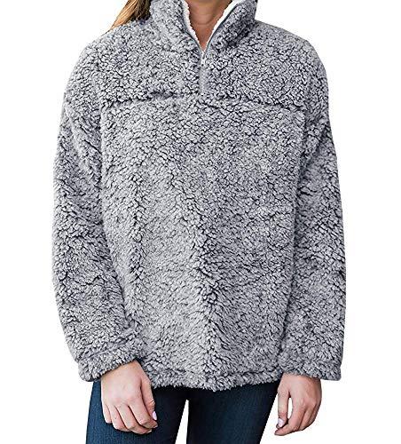 Remikstyt Womens Sherpa Pullover Casual Fleece 1/4 Zip Hooded Sweatshirt Long Sleeve Winter Outwear ()