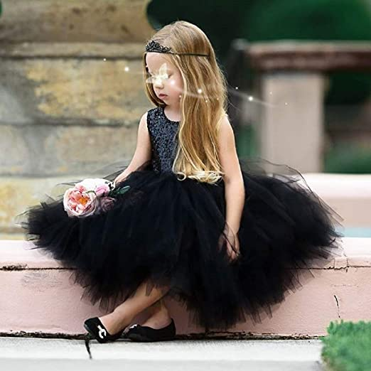 Lamuusaa Toddler Kid Baby Girls Valentines Day Outfit Sleeveless Sequin Tutu Dress Hollow Bowknot Princess Dress 1-5Y