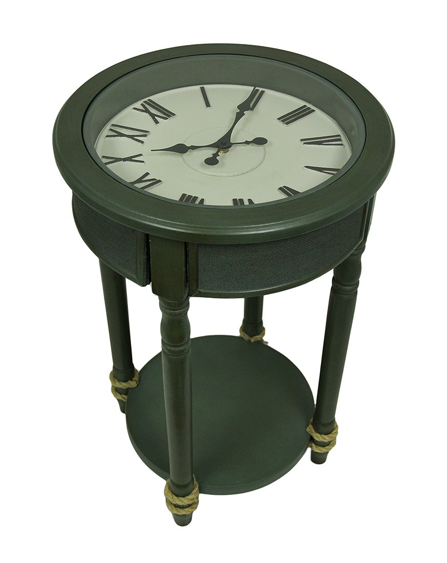 Hyannis Moss Hand-Painted 26''H Clock-Top Round Accent Table