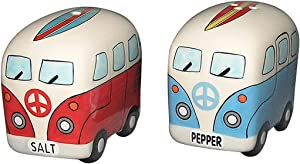 Chesapeake Bay Ceramic Surfer Van Design Salt and Pepper Set 68694 2.75 Inches x 1.75 Inches x 2.3 Inches