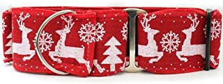 "product image for Diva-Dog 'Reindeer Crossing' 2"" Wide Chainless Martingale Dog Collar"