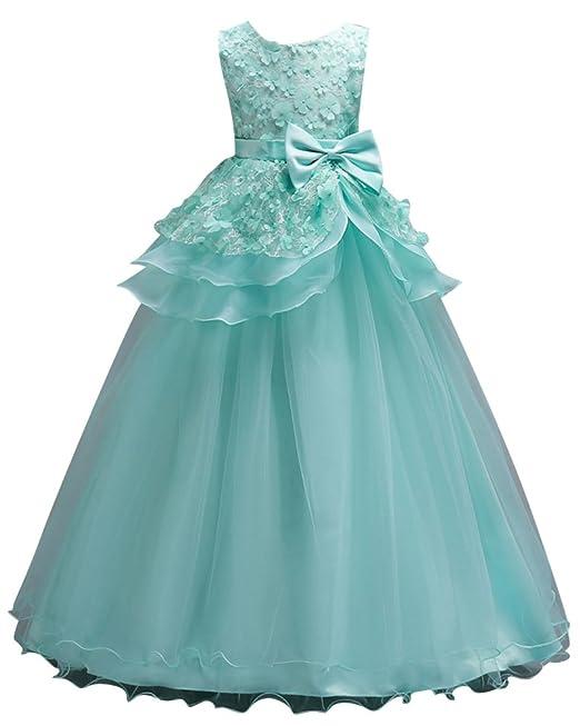9244f8c01 Niñas Vestido Largo de Ceremonia Boda Fiesta Noche Bowknot Vestidos de  Princesa Verde 100CM