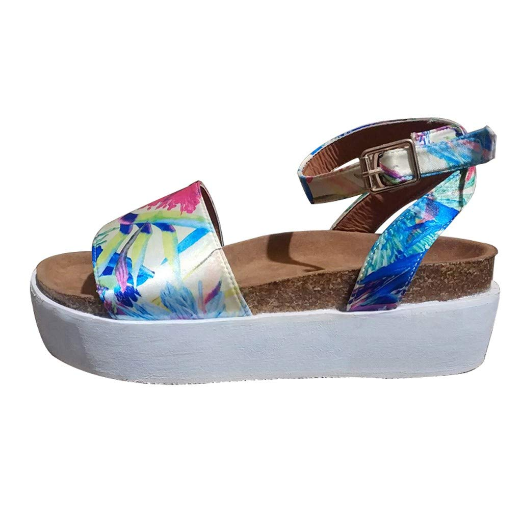 Woman Roman Weaved Wedged Sandals High Waterproof Platform Sandals Ankle Strap Buckle Peep Toe Slingback Beach Shoes (Multicolor, 8.5 M US) by Swiusd Shoes