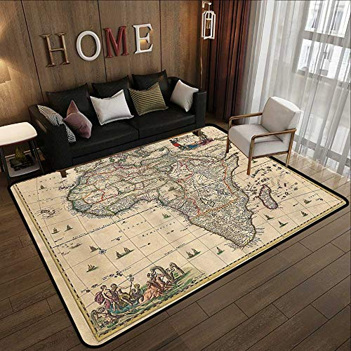 Large Classical Carpet,Antique Decor Collection,Old Map of Africa Continent Ancient Historic Borders Rustic Manuscript Geography Image,Ivory 55