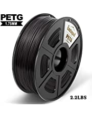 PETG 3D Printer Filament,PETG Filament 1.75mm,2.2LBS 1KG Spool,Dimensional Accuracy 1.75+/- 0.02mm,Ductile&Non-toxic Material For most 3D Printer,Enotepad Black PETG