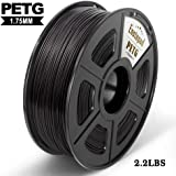 PETG 3D Printer Filament,PETG Filament 1.75mm,2.2LBS 1KG Spool,Dimensional Accuracy 1.75+/- 0.02mm,Ductile&Non-toxic Material For most 3D Printer,Enotepad Black PETG