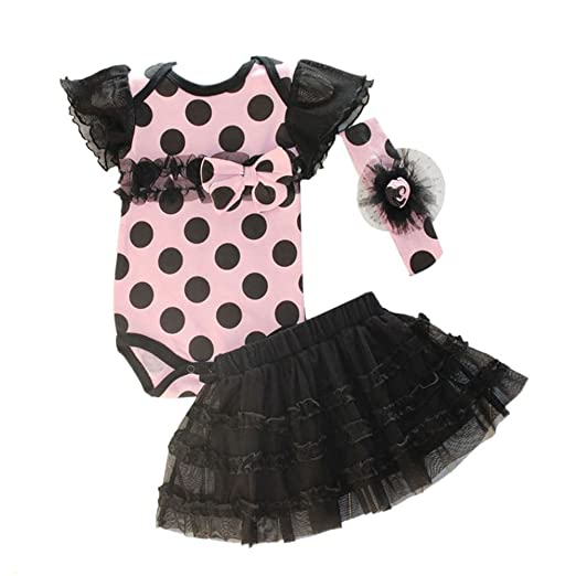 370c4c0e592 Amazon.com  PanDaDa Newborn Baby Girls Romper Tutu Skirt Polka Dot Headband  Outfit Sets  Clothing