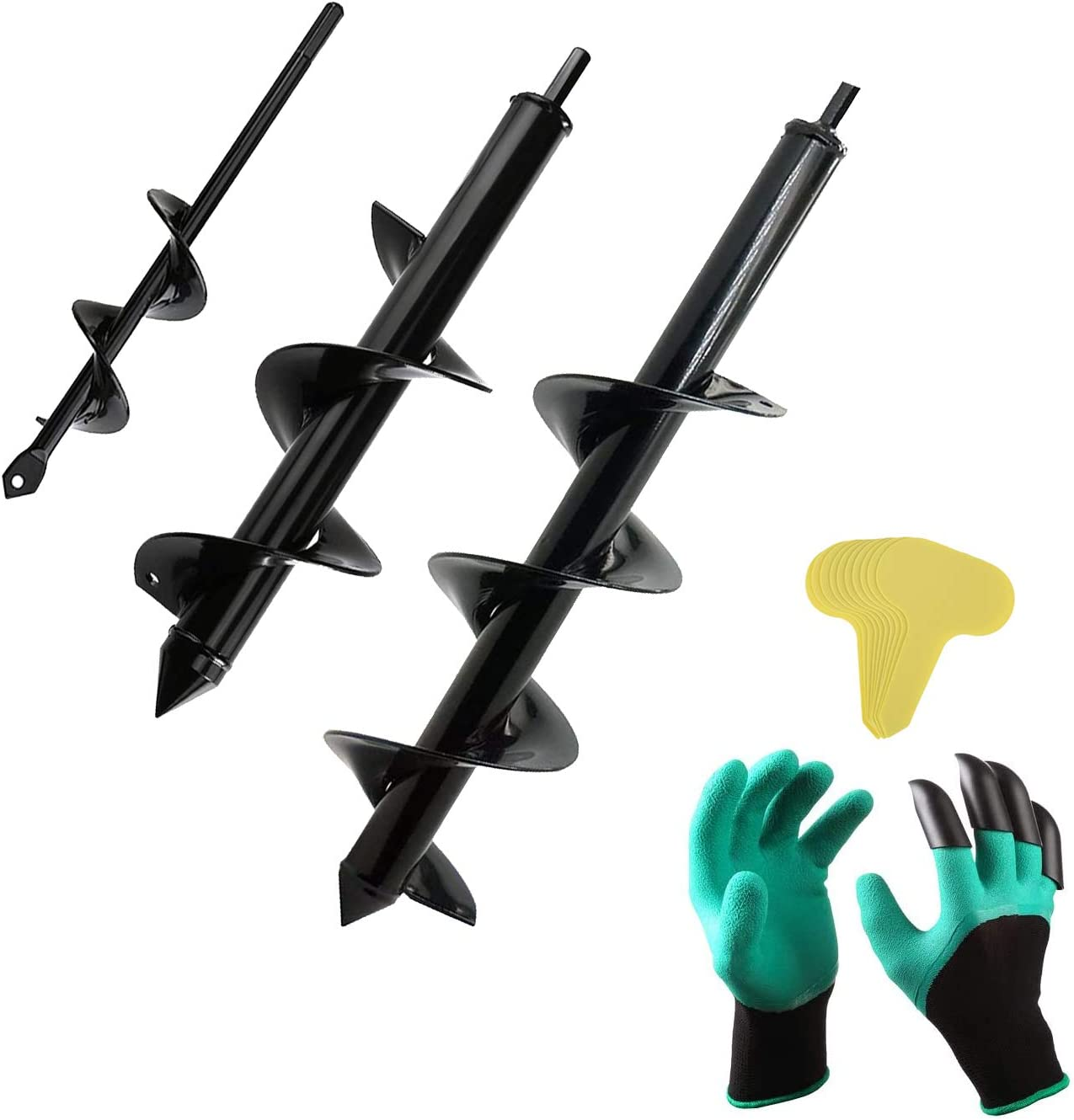 """Auger Drill Bit Set for Planting - Garden Spiral Hole Drill Planter, Bulb & Bedding Plant Augers, Post or Umbrella Hole Digger for 3/8"""" Hex Drive Drill"""
