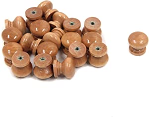 Tulead Natural Wood Grain Furniture Knobs Wood Cabinet Knobs Drawer Dresser Pull Handles Cupboard Pull Knobs 22x22mm,20pcs with Mounting Screws
