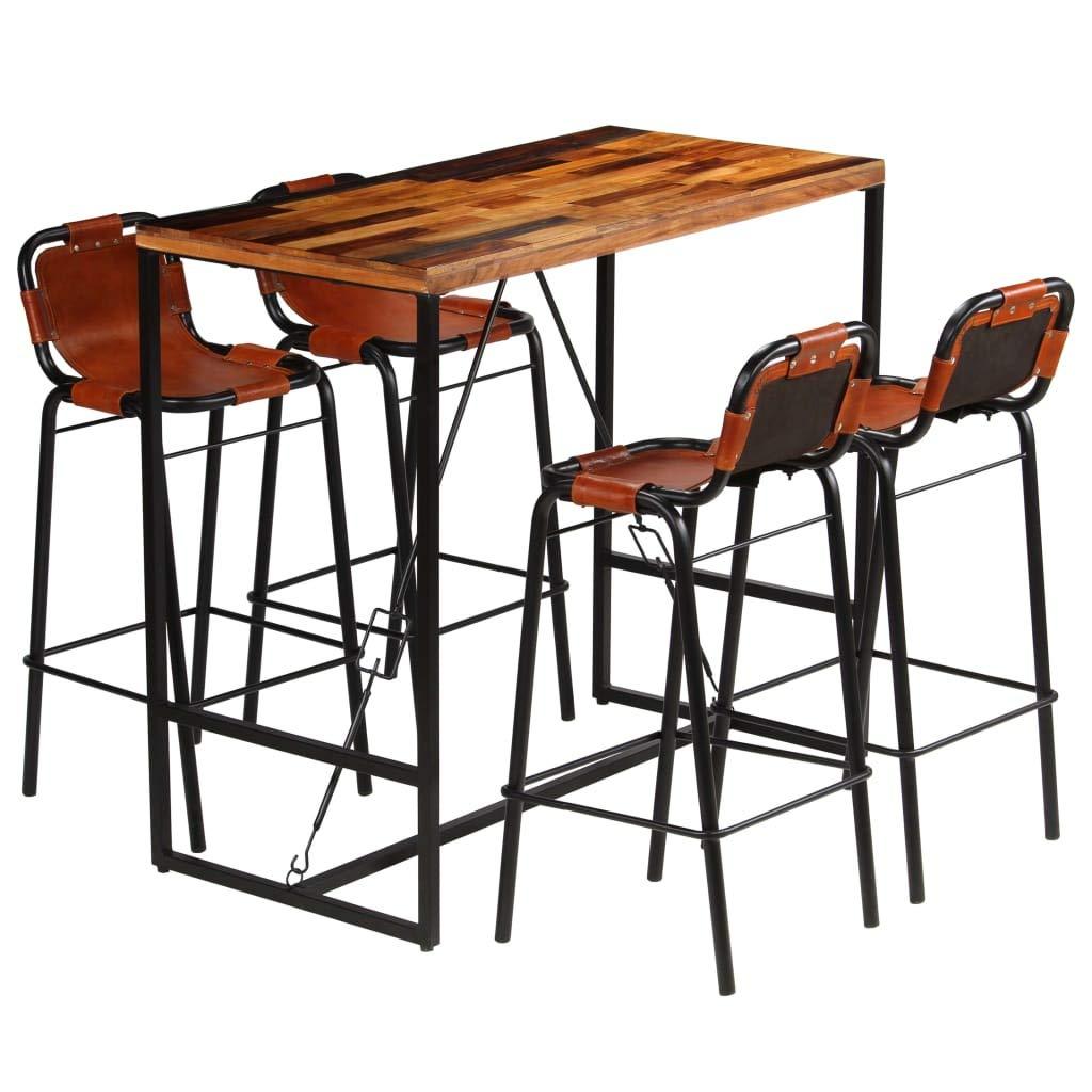 Tidyard Jeu de Bar 5Pcs en Bois Massif Recycl/é et Cuir de Ch/èvre Style Industriel 1 Table de Bar + 4 chaises de Bar