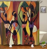 African Women Shower Curtain Black Lady Waterproof Water Repellent Mildew Resistant Fabric Polyester 100% Brand New HYC08-C (71'' x 71'' Inch, 3)