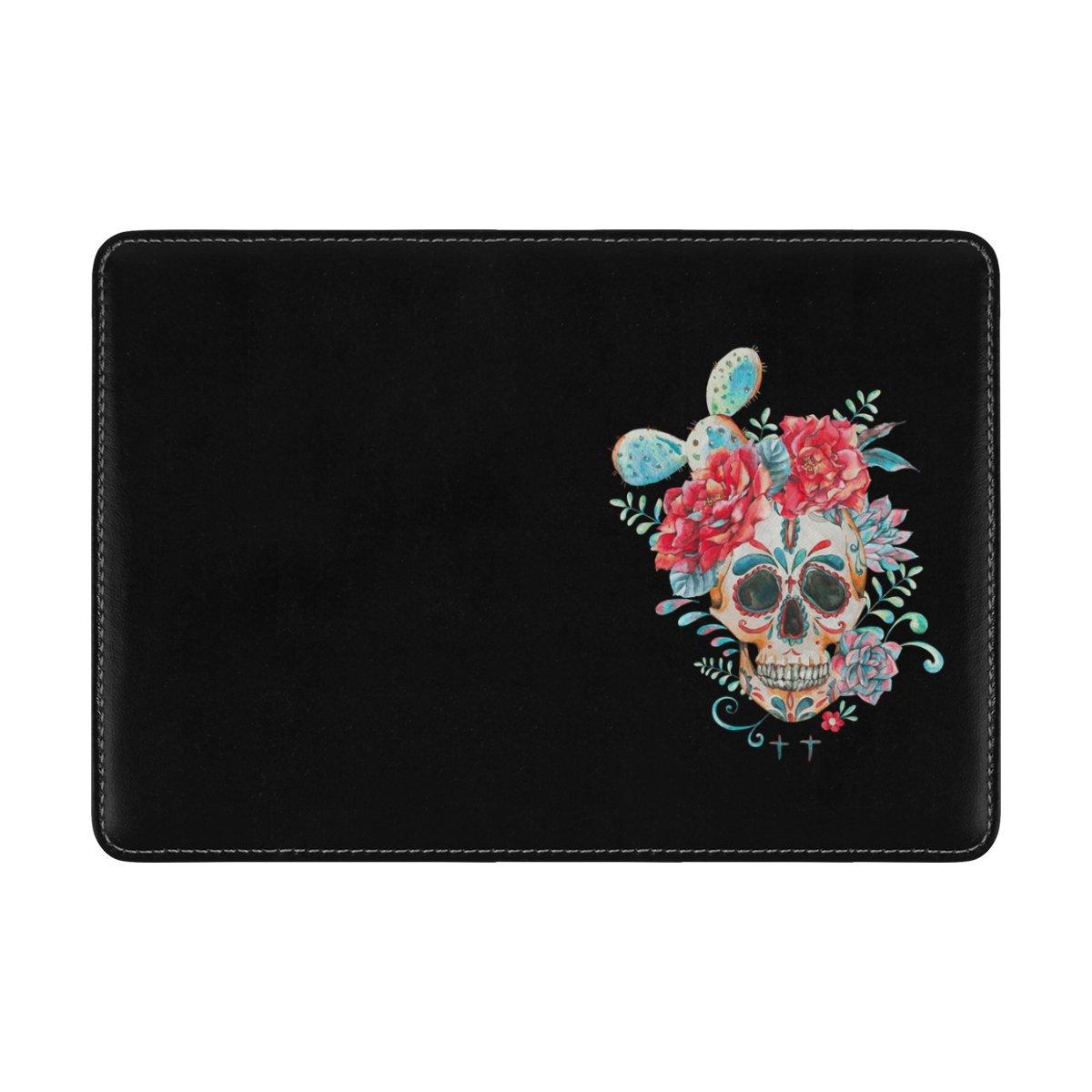 ALAZA Cactus Rose Flower Sugar Skull PU Leather Passport Holder Cover Case Travel One Pocket
