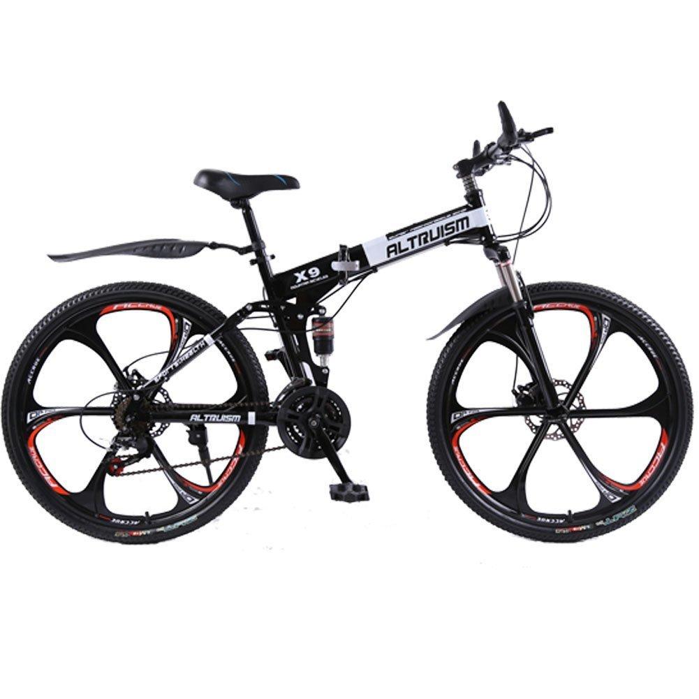 Altruism X9 マウンテンバイク 折り畳み式 シマノ21段変速 26インチタイヤ ロードバイク 泥除け 軽量 スチール製 B01JNZGV1Y 黒 黒