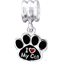 So Chic Bijoux © Charm Pampille Trace Patte Chat Email Noir I love my cat Coeur Rouge Argent 925 - Compatible Pandora, Trollbeads, Chamilia, Biagi