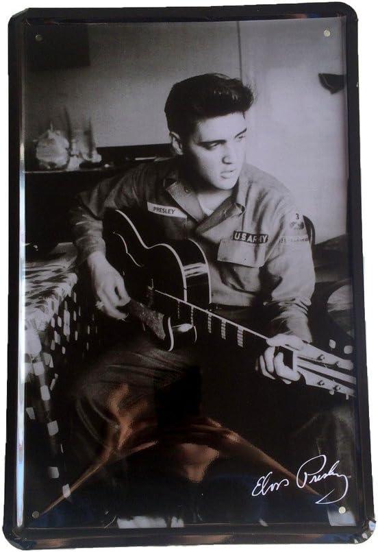 DiiliHiiri Cartel de Chapa Vintage Decoración, Letrero A4 Estilo Antiguo de metálico Retro-Elvis Presley