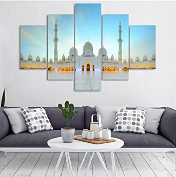 5 Panel Painting on Canvas with Frame Islamic Religion Picture Jerusalem Wall Art Mecca Modern Muslim  sc 1 st  Amazon.com & Amazon.com: 5 Panel Painting on Canvas with Frame Islamic Religion ...