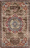 Vintage Inspired Overdyed Distressed Fancy Chocolate Brown 5′ 1 x 8′ FT (155cm x 244cm) St. James Medallion Area Rug Traditional Persian Design