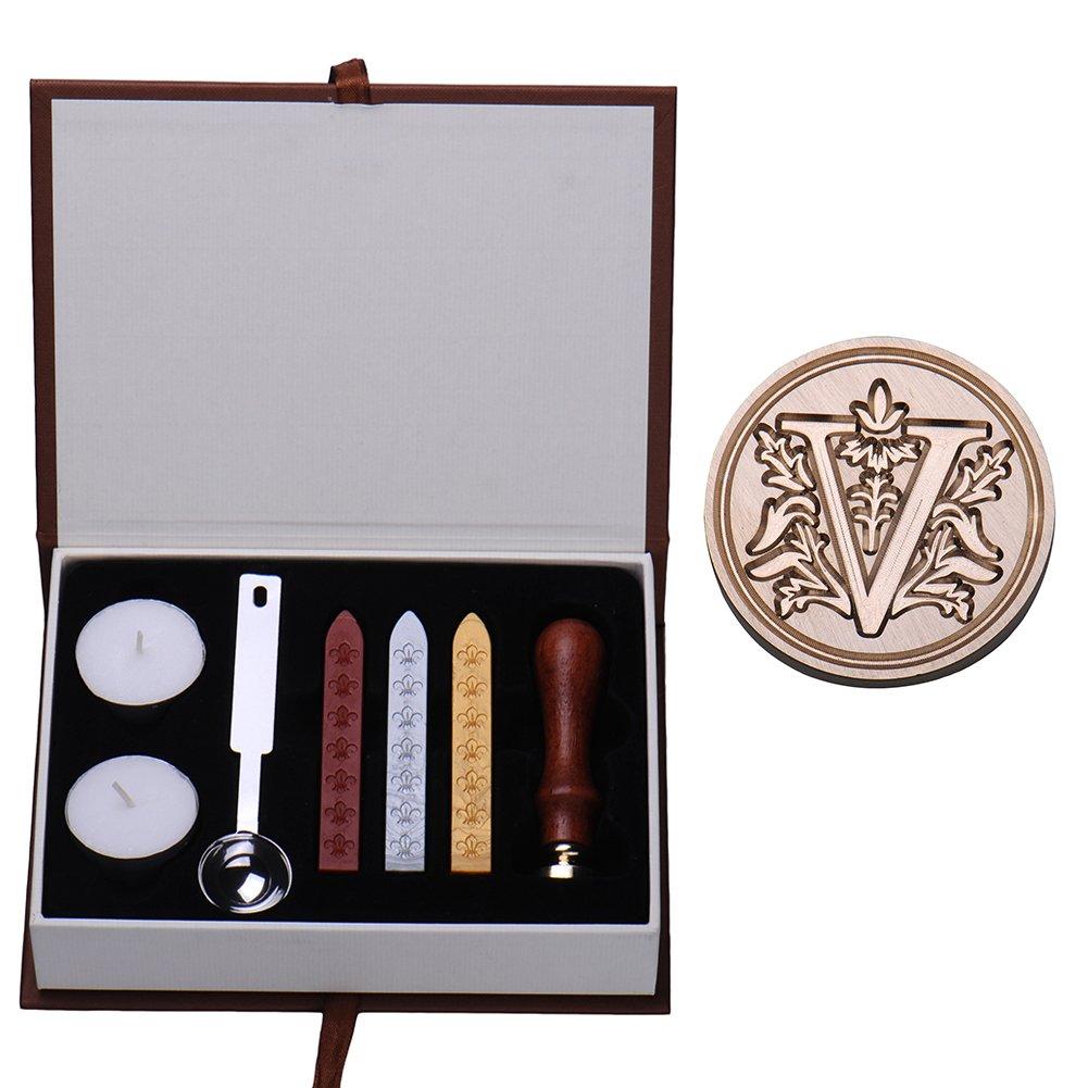Set di ceralacca cucchiai per sciogliere la cera e candele A con sigillo color ottone con lettera dell/'alfabeto vintage//retr/ò