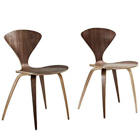 lexmod cherner style stacking chair set in dark walnut amazon co uk