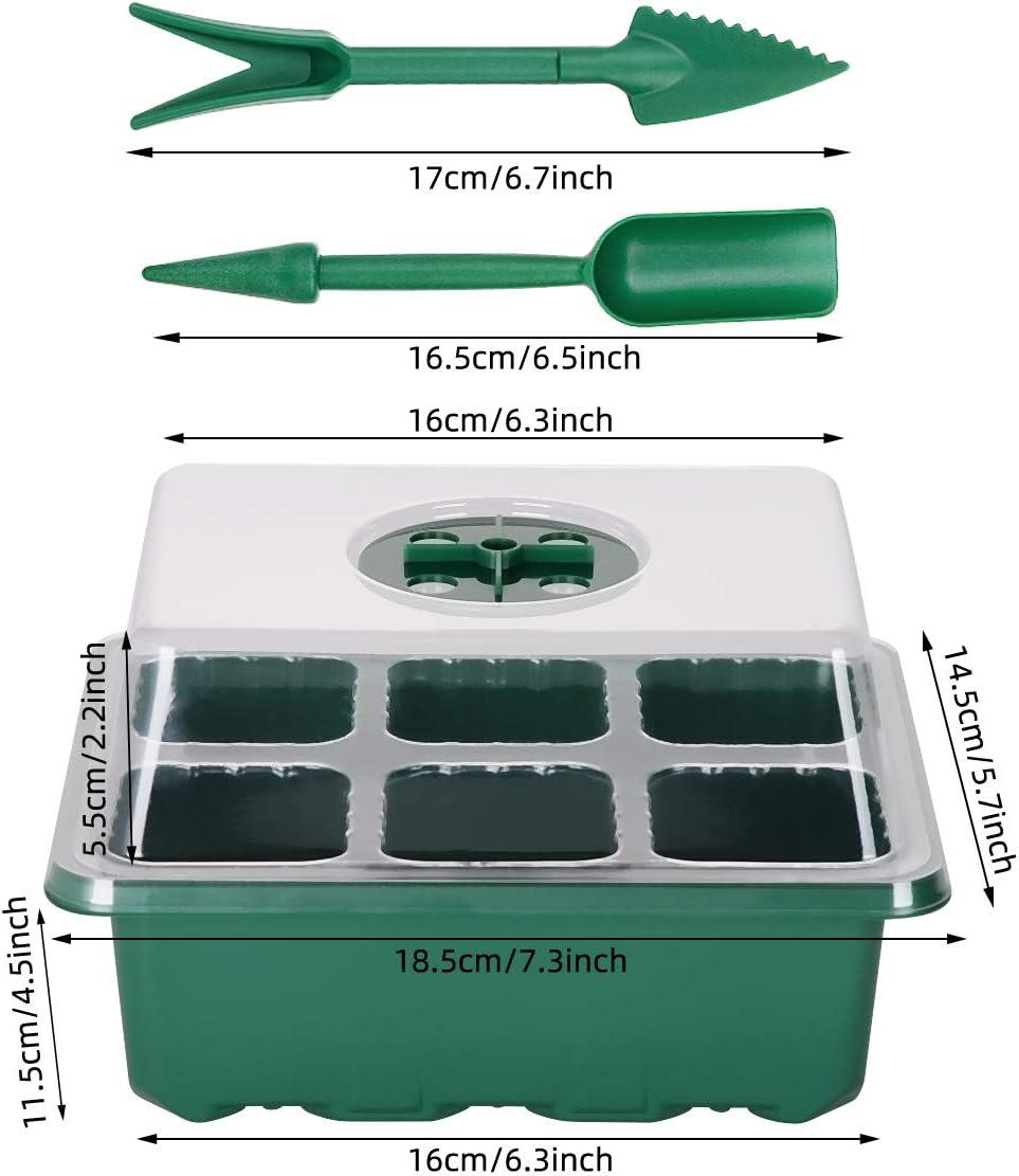 12 Celle per Vassoio ANSUG 3 Impostare i vassoi per Semi Vassoio di germinazione del propagatore con Coperchio a Cupola Regolabile per umidit/à per avviamento di Piante in Crescita