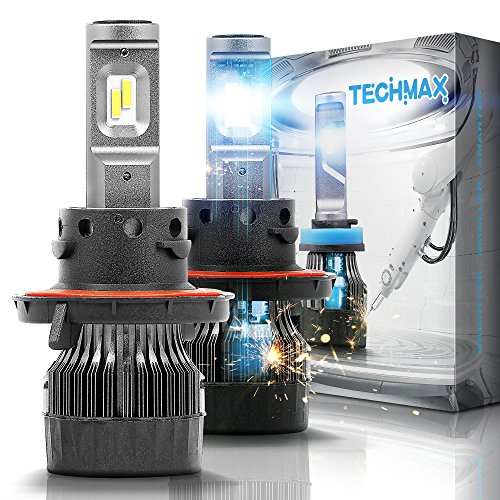 - TECHMAX Mini H13 LED Headlight Bulbs,60W 10000Lm 4700Lux 6500K Cool White Extremely Bright 30mm Heatsink Base CREE Chips 9008 Hi/Lo Conversion Kit(of 2)