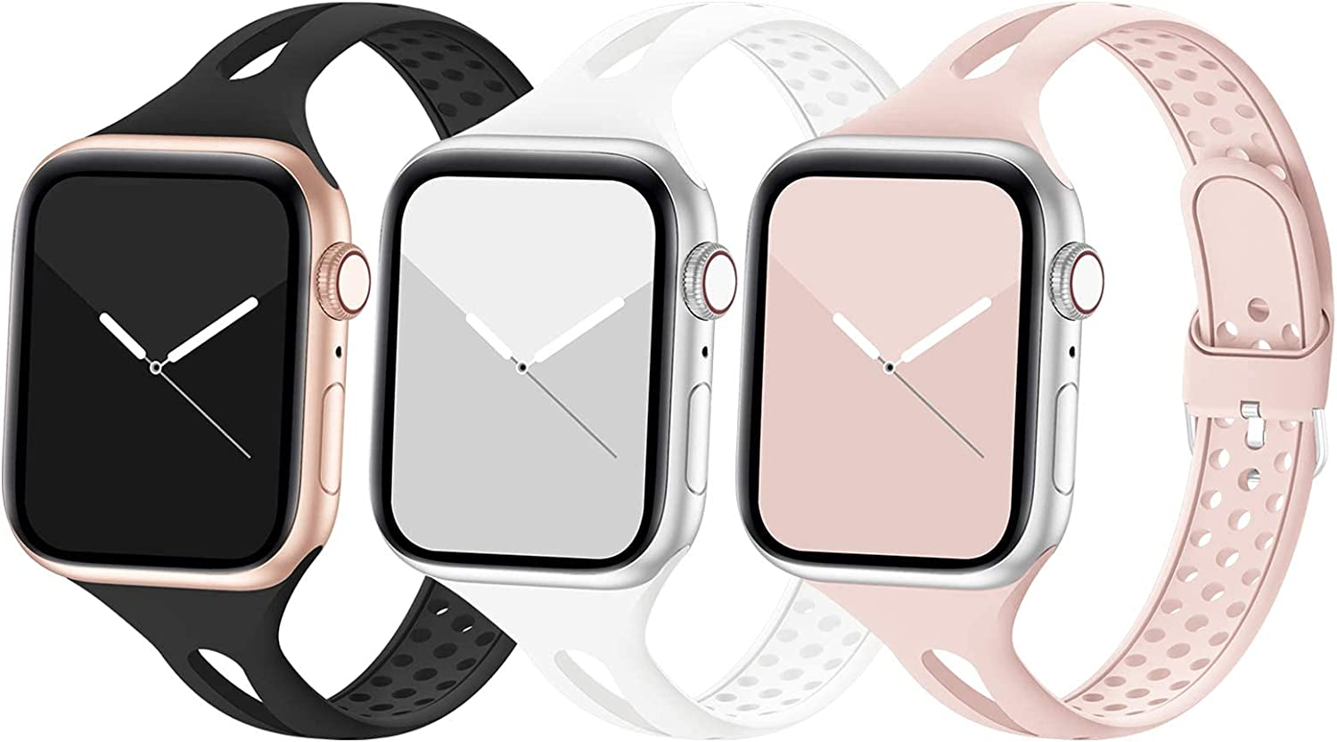 Bandiction Compatible with Apple Watch Band 42mm 44mm, Breathable Women Narrow Slim iWatch Bands Silicone Sport Band Replacement Strap Compatible for iWatch Series 6 SE 5 4 3 2 1, 3 Pack, 42/44mm