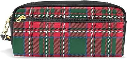 Estuche para lápices de Navidad, diseño de cuadros, color rojo y verde, con compartimentos, con cremallera, para niños y niñas, bolsa de maquillaje de cuero: Amazon.es: Oficina y papelería